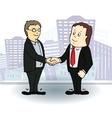 Full length side view of businessmen shaking vector image