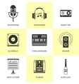 Set of black music and sound icons vector image