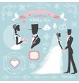 Wedding winter decor setBbride and groomVintage vector image