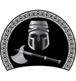medieval helmet with axe vector image vector image