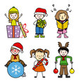 Set of cute kid in christmas holiday vector image vector image