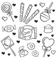 doodle of various candy hand draw vector image