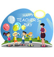 children congratulates the teacher on flowers vector image