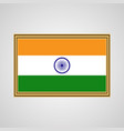 Indian flag in a golden frame on a gray background vector image