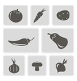 monochrome icons with vegetables vector image