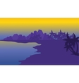 Silhouette of beach with purple backgrounds vector image