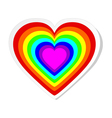 Rainbow heart sticker vector image