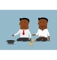 Bankrupt black businessman is begging for money vector image