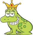 Cartoon frog wearing a crown vector image