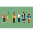 Flat hipster girls and boys set vector image
