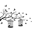 Tree silhouette with bird flying vector image