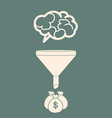 sales funnel converting brains into money flat vector image