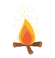 white background with campfire and fire sparks vector image