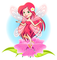 Fairy Princess Flying Above a Flower vector image vector image