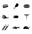 black meat icons set vector image