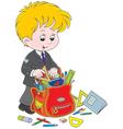 Schoolboy completing his schoolbag vector image vector image