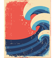 Sea waves posterGrunge of sea landscape vector image vector image