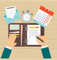 agenda on workplace vector image