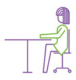 businesswoman sitting in chair desk office work vector image