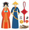china man and woman east culture chinese vector image