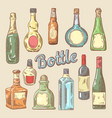 hand drawn set of different bottles for drinks vector image