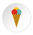 Mixed ice cream scoops in waffle cone icon vector image