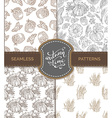 set of seamless sketch autumn patterns vector image