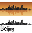 Beijing skyline in orange background vector image vector image