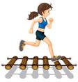 woman running across the bridge vector image