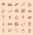 fast food line color icons on brown background vector image