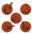 japan food icons vector image vector image