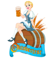 Oktoberfest girl on the keg vector image