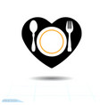 black icon of cutlery in the shape of a heart vector image