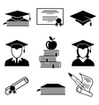 Graduation and education icons vector image