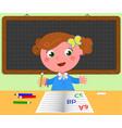 schoolgirl and blank black board vector image