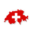 Switzerland flag map with shadow effect vector image