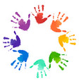 rainbow prints of children hands in the circle vector image