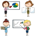 Business women with diagrams vector image