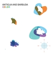 Abstract color map of Antigua and Barbuda vector image
