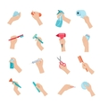 Hand holding objects icons set vector image