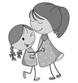 Mother and daughter hugging vector image vector image