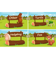 Different animals by the wooden sign vector image
