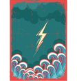 Storm in ocean with waves and lightning grunge vector image