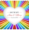 Rainbow heart background with Save the date vector image
