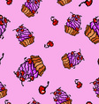 sweet cupcakes pattern vector image