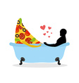I love food Piece of pizza and man in bath Man and vector image