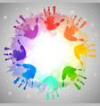 rainbow prints of children hands and watercolor vector image