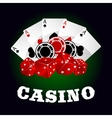Casino icon with dice chips and poker aces vector image