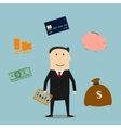 Banker profession and finance icons vector image