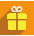 Flat web icon with long shadow gift vector image